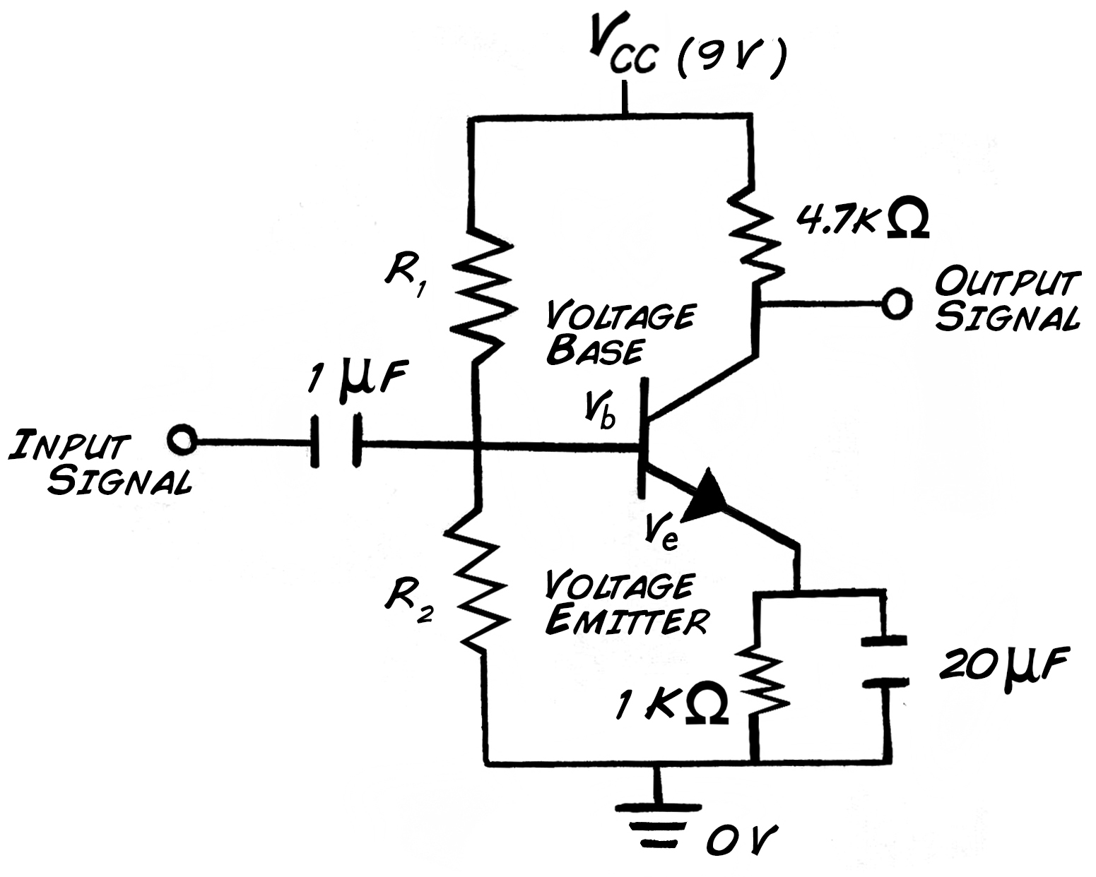 Experiment Transistor Circuit Design Common Emitter Amplifier Electronics Setting The Bias Voltages
