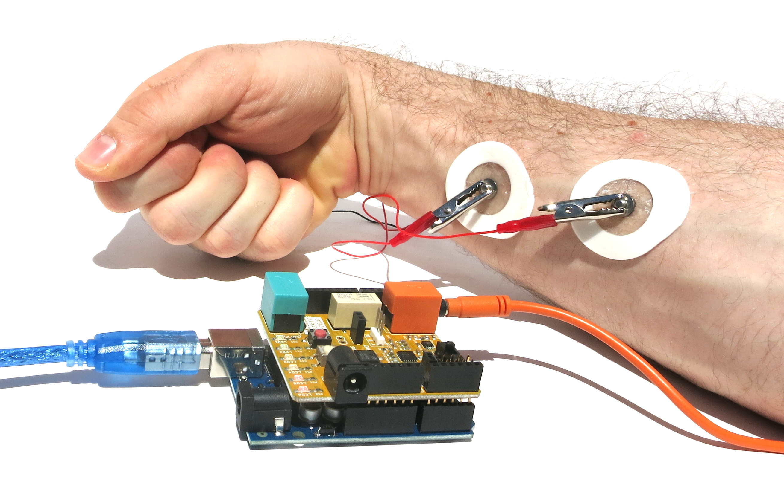 Experiment Control Machines With Your Brain Wiring A Light Fixture Red Black And White Wires Hook The Two Clips Onto Arm Place One On Back Of Wrist You Can Also Plug In Speaker To Hear Muscle Activity