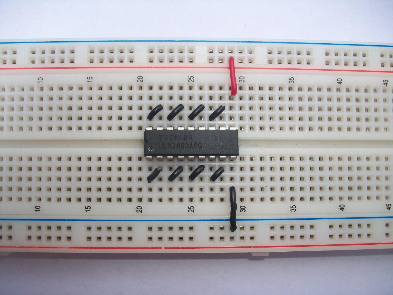 Experiment Controlling A Stepper Motor With Your Muscles Arduinorealtimeclockcircuit Breadboard Schematic First Connect Pin 9 Gnd And 10 Vcc To The Then Join Following Pins As Shown In Image Below 1 2 3 4 5 6 7 8 11 12 13 14