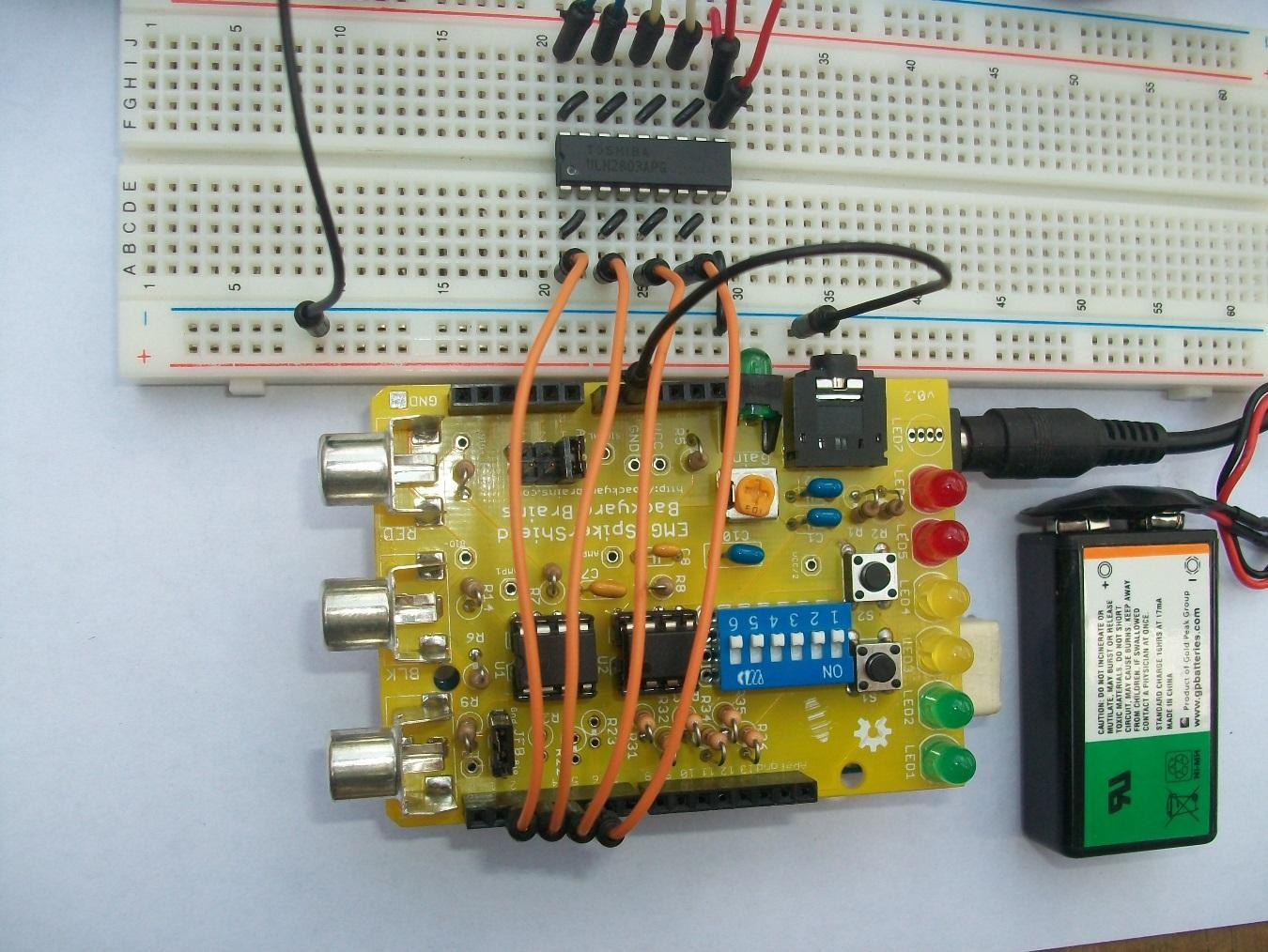 Experiment Controlling A Stepper Motor With Your Muscles In Addition To This Circuit We Also Recommend The Other Dc Noteits Important Feed Its Own Voltage 5v Though Use 6v Here And Fine Without Using Of Arduino