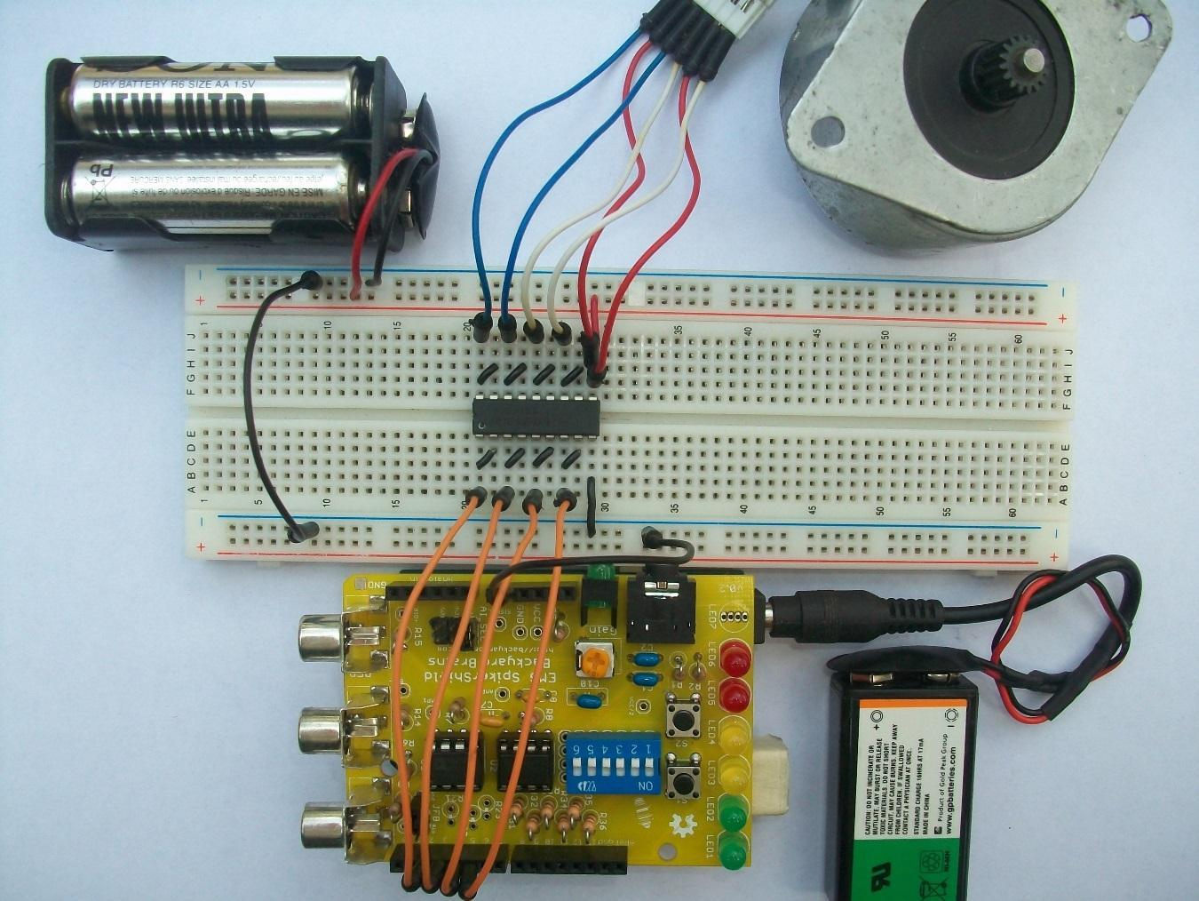 Experiment Controlling A Stepper Motor With Your Muscles Circuit Of The Common Electric Motor2 Automotivecircuit To Finish Up We Load Program Arduino Now Can Finally Test It Diagram